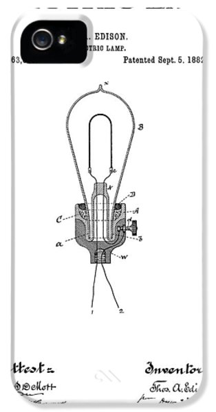 Electric Lamp (electric Light) iPhone 5 Cases - Edison Electric Lamp Patent  1882 iPhone 5 Case by Daniel Hagerman