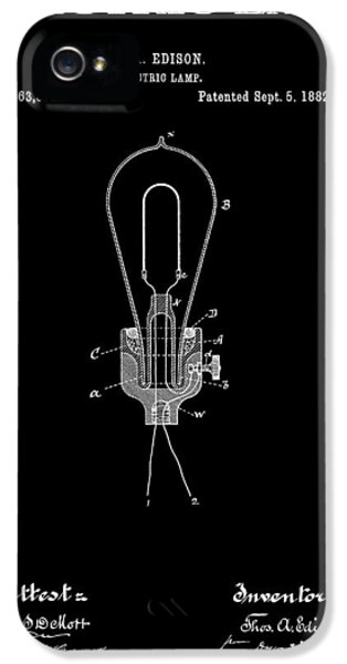 Electric Lamp (electric Light) iPhone 5 Cases - Edison Electric Lamp Patent 2  -  1882 iPhone 5 Case by Daniel Hagerman