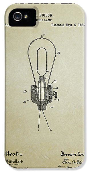 Electric Lamp (electric Light) iPhone 5 Cases - Edison Electric Lamp Patent 3 -  1882 iPhone 5 Case by Daniel Hagerman