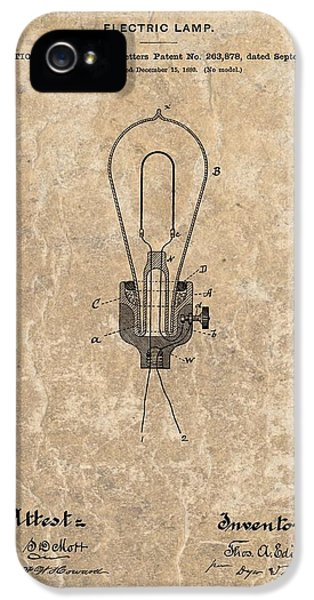 Electric Lamp (electric Light) iPhone 5 Cases - Edison Electric Lamp Patent Marble iPhone 5 Case by Dan Sproul