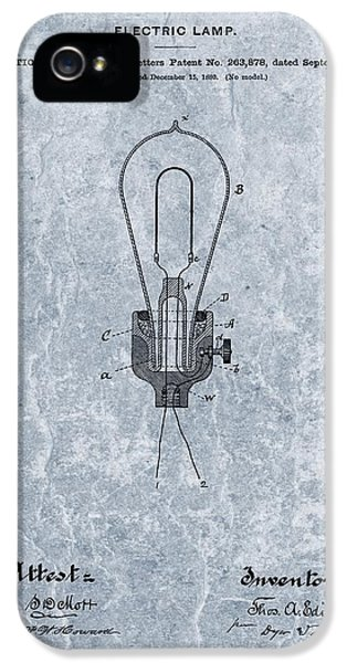 Electric Lamp (electric Light) iPhone 5 Cases - Edison Electric Lamp Patent Orginal File iPhone 5 Case by Dan Sproul