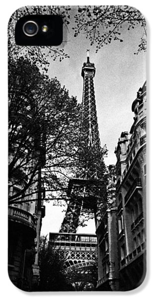 France iPhone 5 Cases - Eiffel Tower Black and White iPhone 5 Case by Andrew Fare