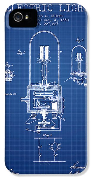 Electric Lamp (electric Light) iPhone 5 Cases - Electric Light Patent from 1880 - Blueprint iPhone 5 Case by Aged Pixel