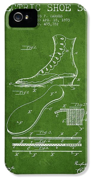 High Heel iPhone 5 Cases - Electric Shoe Sole Patent from 1893 - Green iPhone 5 Case by Aged Pixel