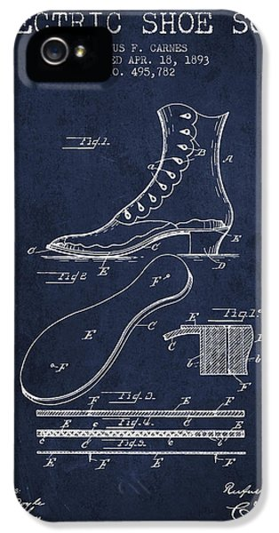 High Heel iPhone 5 Cases - Electric Shoe Sole Patent from 1893 - Navy Blue iPhone 5 Case by Aged Pixel