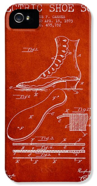 High Heel iPhone 5 Cases - Electric Shoe Sole Patent from 1893 - Red iPhone 5 Case by Aged Pixel