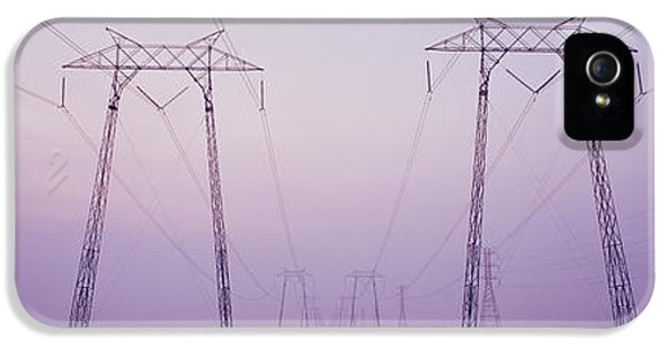 Fuel And Power Generation iPhone 5 Cases - Electric Towers At Sunset, California iPhone 5 Case by Panoramic Images