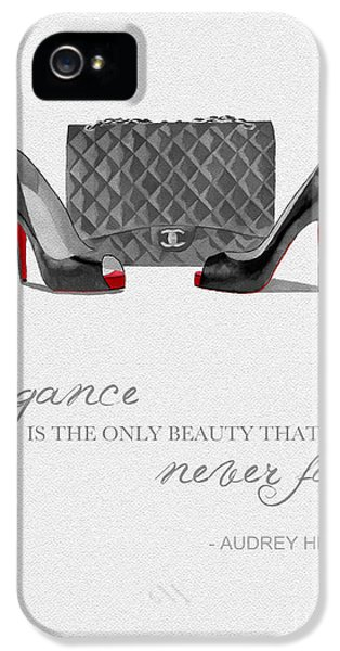 Fashion iPhone 5 Cases - Elegance Never Fades Black and White iPhone 5 Case by Rebecca Jenkins