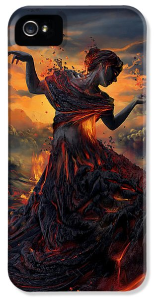 Decorative iPhone 5 Cases - Elements - Fire iPhone 5 Case by Cassiopeia Art