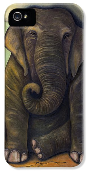 Ancient iPhone 5 Cases - Elephant In The Room iPhone 5 Case by Leah Saulnier The Painting Maniac