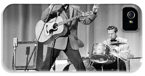 Elvis Presley And D.j. Fontana Performing In 1956 IPhone 5 / 5s Case by The Phillip Harrington Collection