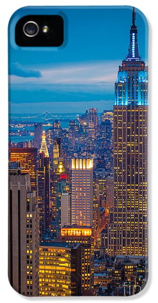 Tourism iPhone 5 Cases - Empire State Blue Night iPhone 5 Case by Inge Johnsson