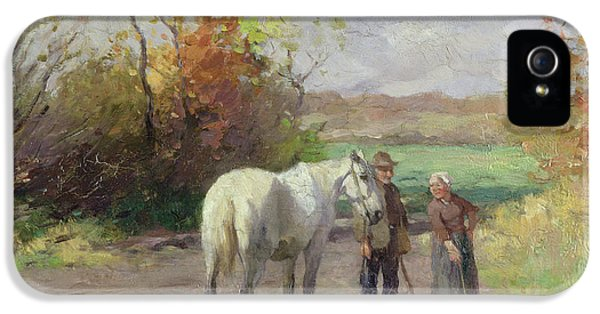 Meeting iPhone 5 Cases - Encounter On The Way To The Field, 1897 Oil On Panel iPhone 5 Case by Thomas Ludwig Herbst