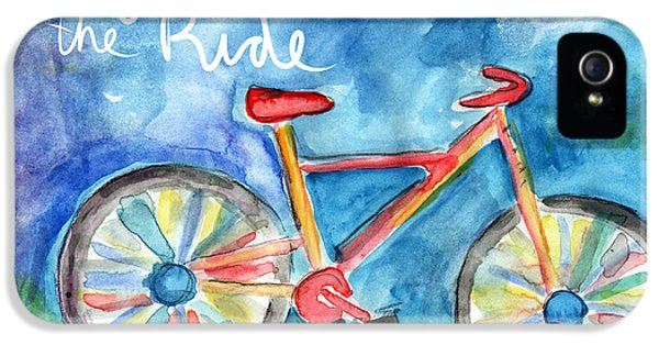 Sketch iPhone 5 Cases - Enjoy The Ride- Colorful Bike Painting iPhone 5 Case by Linda Woods