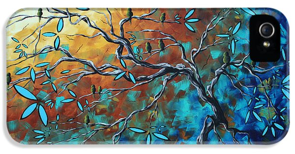Whimsy iPhone 5 Cases - Enormous Abstract Bird Art Original Painting WHERE THE HEART IS by MADART iPhone 5 Case by Megan Duncanson