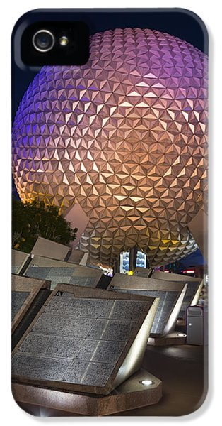Spaceships iPhone 5 Cases - Epcot Spaceship Earth iPhone 5 Case by Adam Romanowicz