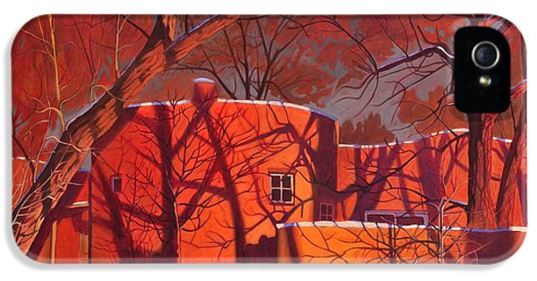 Beautiful Old Tree iPhone 5 Cases - Evening Shadows on a Round Taos House iPhone 5 Case by Art James West