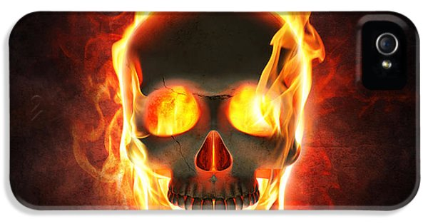 Burn iPhone 5 Cases - Evil skull in flames and smoke iPhone 5 Case by Johan Swanepoel