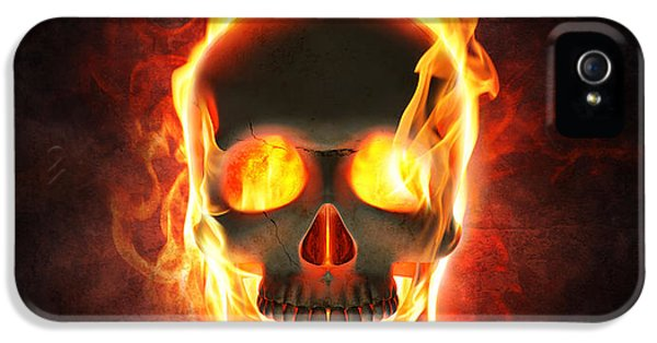 Smoke iPhone 5 Cases - Evil skull in flames and smoke iPhone 5 Case by Johan Swanepoel