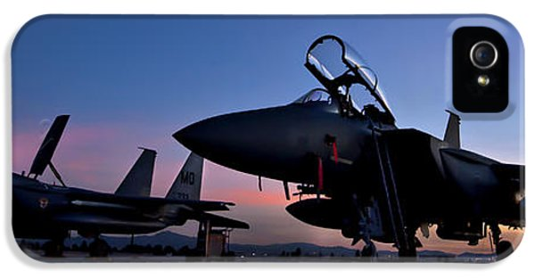 Usaf iPhone 5 Cases - F-15E Strike Eagles at Dusk iPhone 5 Case by Adam Romanowicz