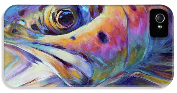 Face Of A Rainbow- Rainbow Trout Portrait IPhone 5 / 5s Case by Savlen Art