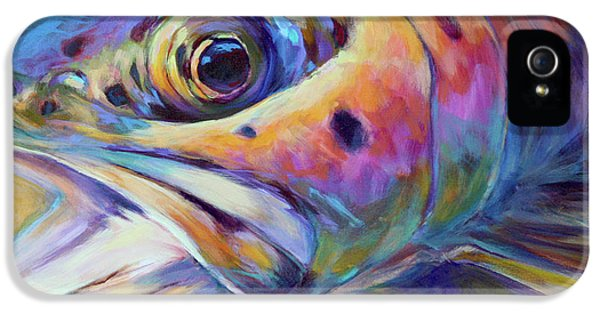 Fishing iPhone 5 Cases - Face of A Rainbow- Rainbow Trout Portrait iPhone 5 Case by Mike Savlen