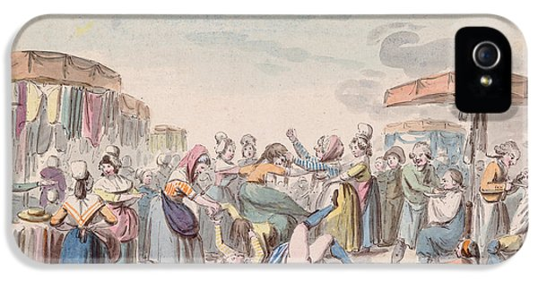 Social History iPhone 5 Cases - Fair During The Period Of The French Revolution, C.1789 Wc On Paper iPhone 5 Case by Etienne Bericourt