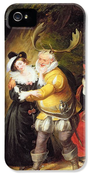 Horn iPhone 5 Cases - Falstaff At Hernes Oak From The Merry Wives Of Windsor, Act V, Scene V, 1832 Oil On Panel iPhone 5 Case by James Stephanoff