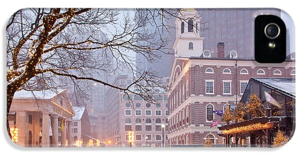Tourism iPhone 5 Cases - Faneuil Hall in Snow iPhone 5 Case by Susan Cole Kelly