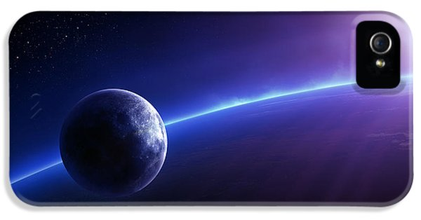 Earth iPhone 5 Cases - Fantasy Earth and Moon with colourful  sunrise iPhone 5 Case by Johan Swanepoel