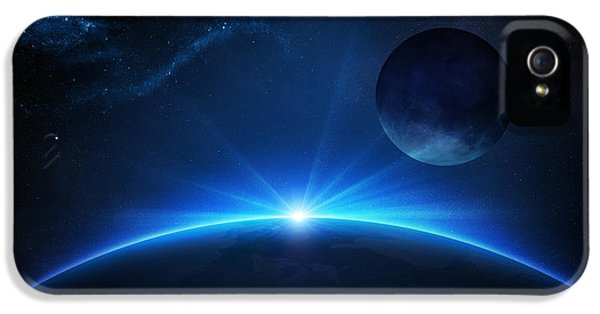 Earth iPhone 5 Cases - Fantasy Earth and Moon with sunrise iPhone 5 Case by Johan Swanepoel