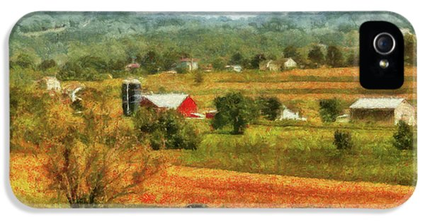 Field iPhone 5 Cases - Farm - Cow - Cows Grazing iPhone 5 Case by Mike Savad