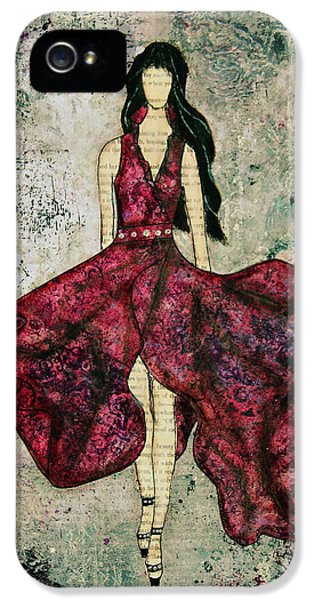 Dress iPhone 5 Cases - Fashionista Mixed Media painting by Janelle Nichol iPhone 5 Case by Janelle Nichol