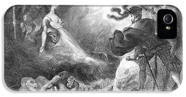 Monster iPhone 5 Cases - Faust And Mephistopheles At The Witches Sabbath, From Goethes Faust, 1828, Illustration, Bw Photo iPhone 5 Case by Ferdinand Victor Eugene Delacroix
