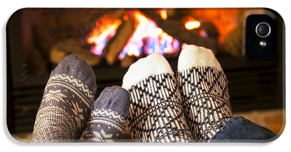 Wool iPhone 5 Cases - Feet warming by fireplace iPhone 5 Case by Elena Elisseeva