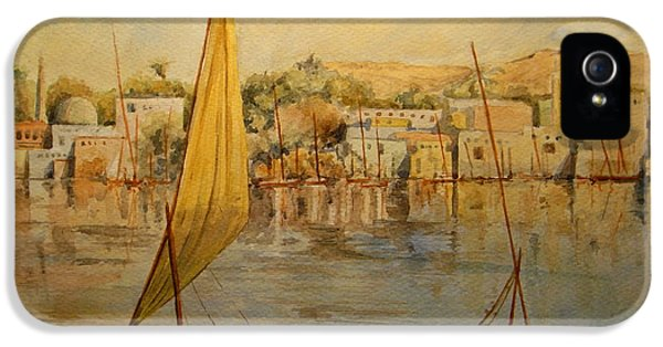 Ruins iPhone 5 Cases - Feluccas at Aswan Egypt. iPhone 5 Case by Juan  Bosco