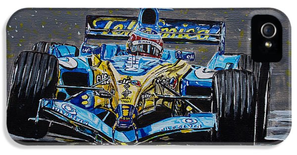 Formula One World Champion iPhone 5 Cases - Fernando Alonso in blue iPhone 5 Case by Juan Mendez