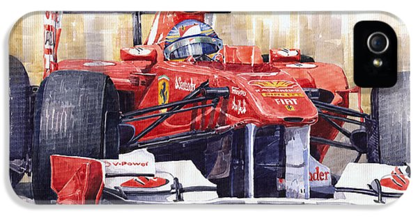 Ferrari iPhone 5 Cases - Ferrari 150 Italia Fernando Alonso F1 2011  iPhone 5 Case by Yuriy  Shevchuk