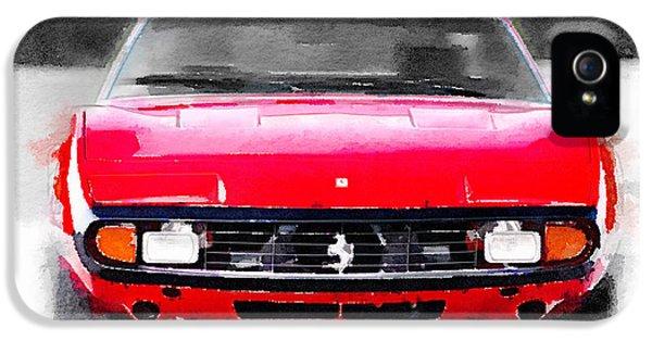 Italian Classic Car iPhone 5 Cases - Ferrari 365 GTC4 Front Watercolor iPhone 5 Case by Naxart Studio
