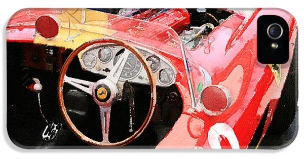 Ferrari iPhone 5 Cases - Ferrari Cockpit Monterey Watercolor iPhone 5 Case by Naxart Studio