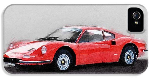 Italian Classic Car iPhone 5 Cases - Ferrari Dino 246 GT Watercolor iPhone 5 Case by Naxart Studio