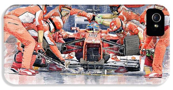 Automotive iPhone 5 Cases - Ferrari F 2012 Fernando Alonso Pit Stop iPhone 5 Case by Yuriy  Shevchuk