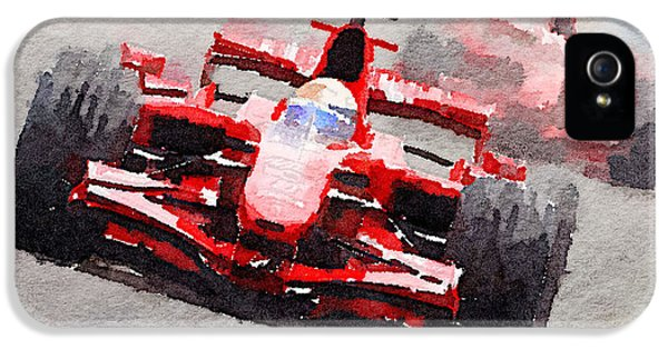 Formula One iPhone 5 Cases - Ferrari F1 Race Watercolor iPhone 5 Case by Naxart Studio