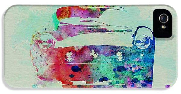 Speed iPhone 5 Cases - Ferrari Front Watercolor iPhone 5 Case by Naxart Studio