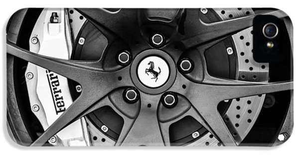 Ferrari Wheel Emblem - Brake Emblem -0430bw IPhone 5 / 5s Case by Jill Reger