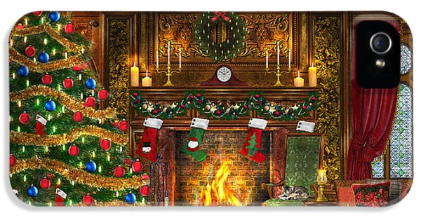 Stockings iPhone 5 Cases - Festive Fireplace iPhone 5 Case by Dominic Davison