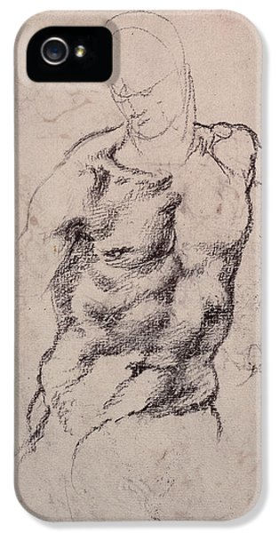 Abdomen iPhone 5 Cases - Figure Study Charcoal On Paper iPhone 5 Case by Michelangelo Buonarroti