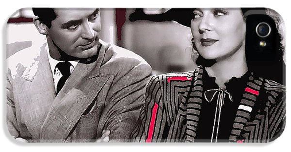 Howard Hawks iPhone 5 Cases - Film homage Cary Grant Rosalind Russell Howard Hawks His Girl Friday 1940-2008 iPhone 5 Case by David Lee Guss