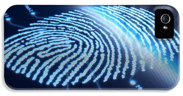 Security iPhone 5 Cases - Fingerprint on pixellated screen iPhone 5 Case by Johan Swanepoel