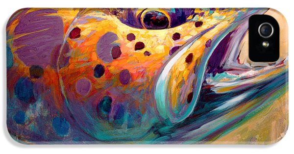 Fly iPhone 5 Cases - Fire From Water - Rainbow Trout Contemporary Art iPhone 5 Case by Mike Savlen